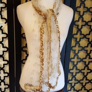 GORGEOUS IN GOLD NETTING SCARF/WRAP